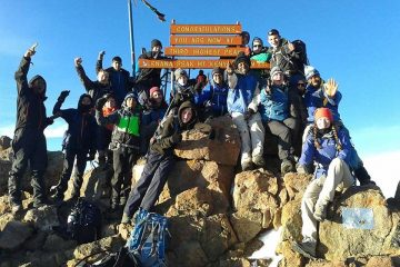 Mt  Kenya climbing   group  at  Lenana Peak